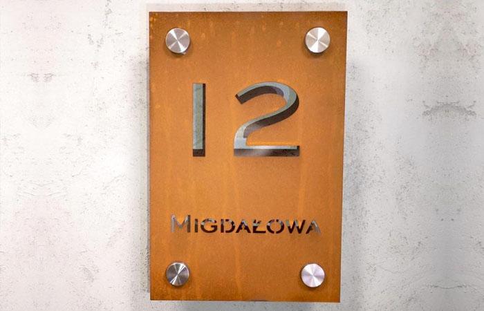 Tabliczka Adresowa Numer Domu Corten - cortena.pl